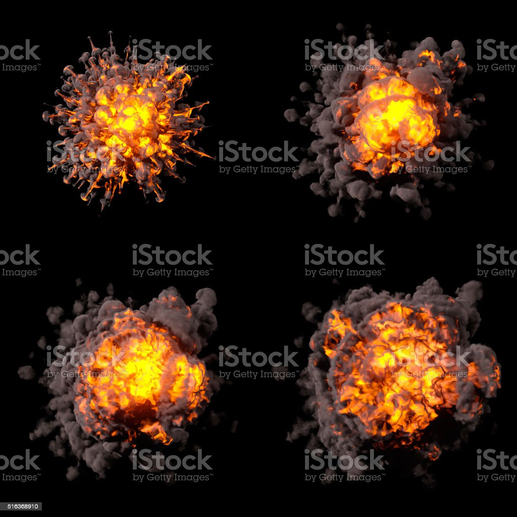 Fire explosions isolated set stock photo
