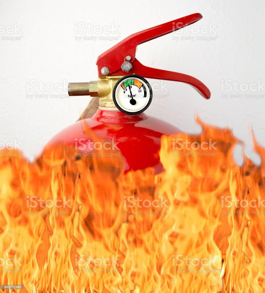 fire extinguisher is burning stock photo