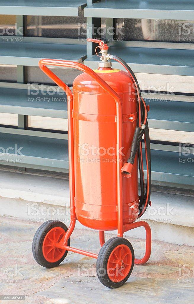 Fire extinguisher on wheels stock photo