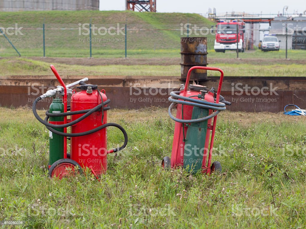 fire extinguishers on trolley stock photo