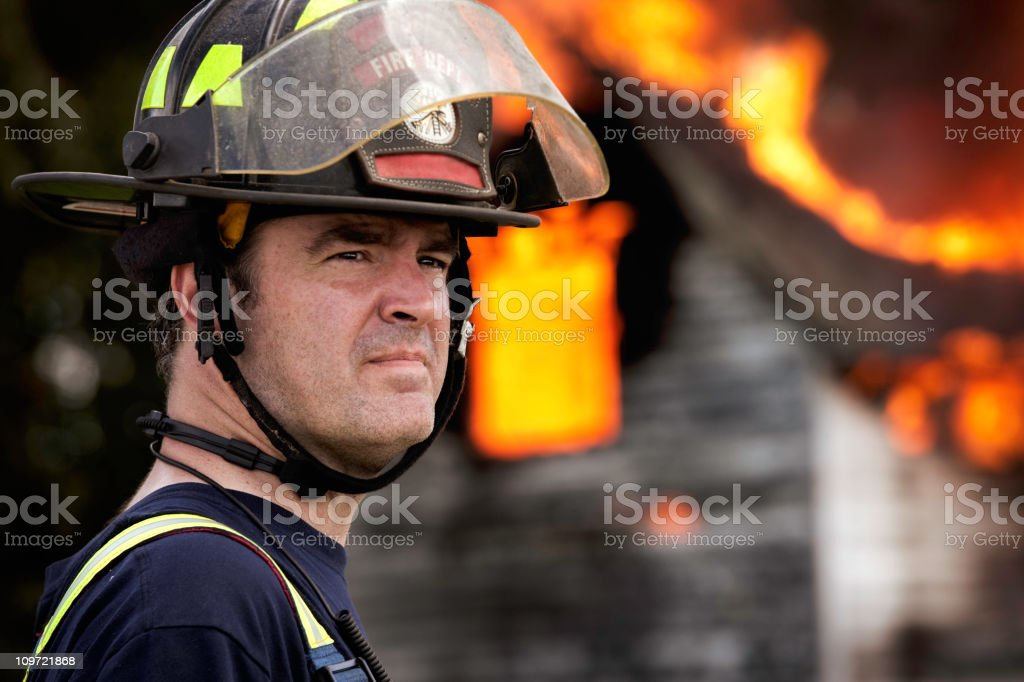 Fire Fighter Working stock photo