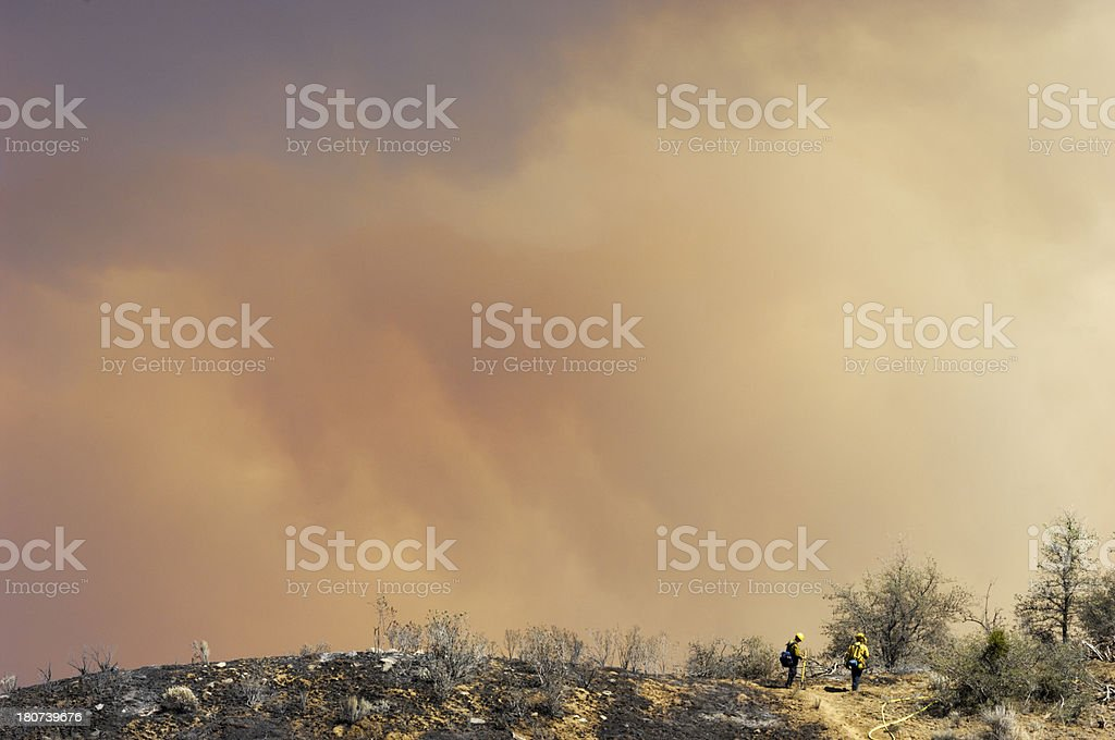 Fire Fighters Fighting Wildfire stock photo