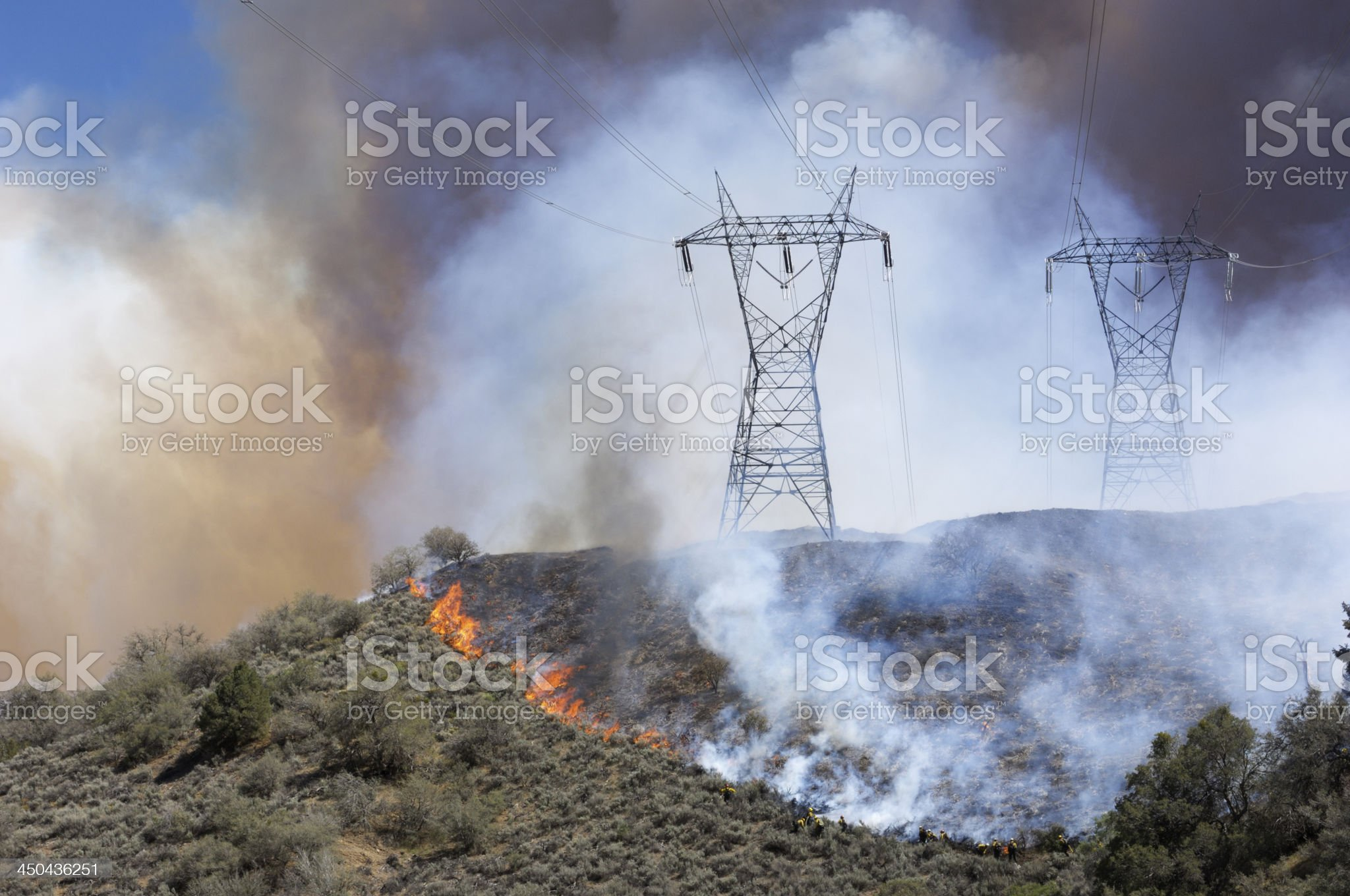 Fire Fighters Fighting Wildfire royalty-free stock photo