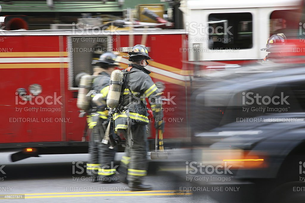 Fire Fighters in New York City royalty-free stock photo