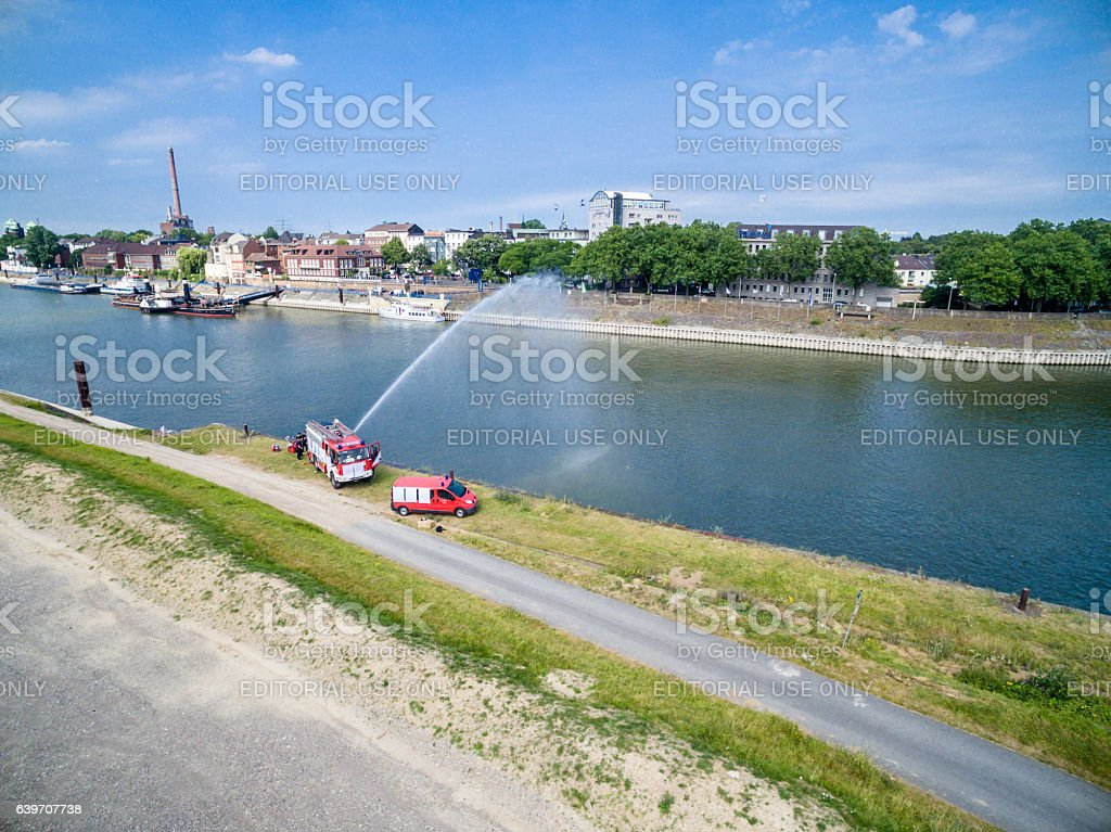 Fire fighters practicing stock photo