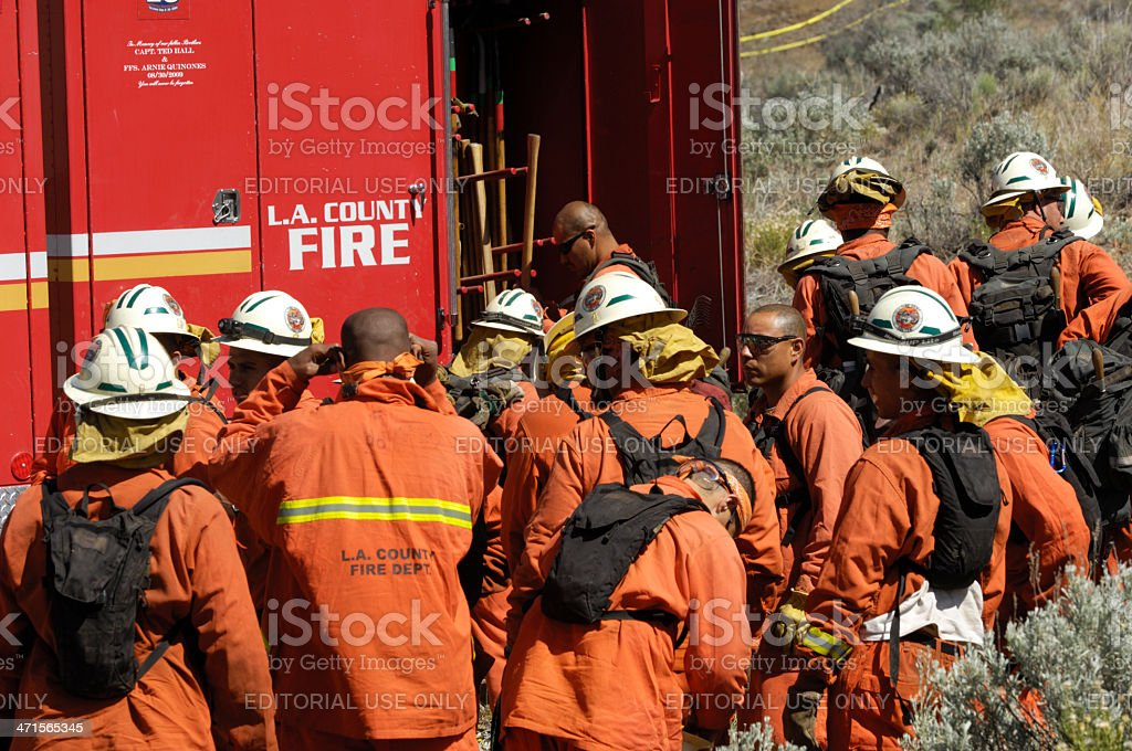 Fire Fighters Preparing to Battle Wildfire stock photo