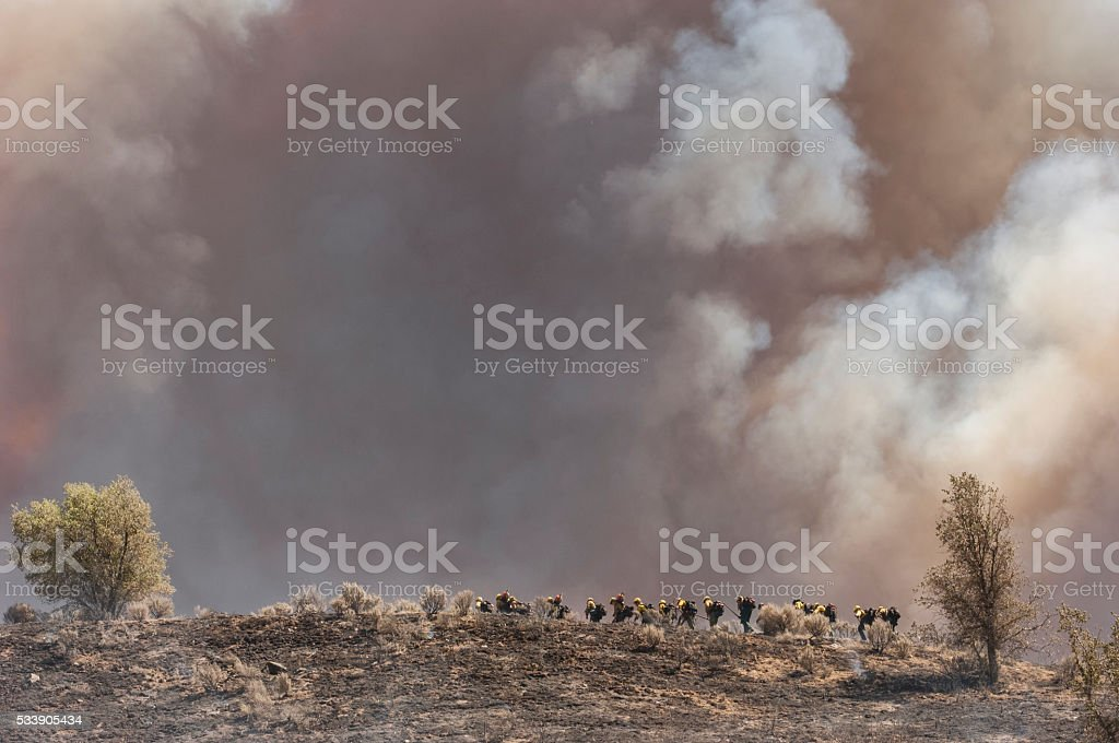 Fire Fighters Walking Up Smoldering Ridge stock photo