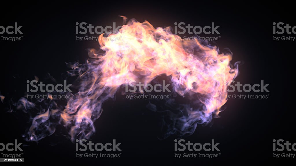 Fire flame bursting in one direction stock photo