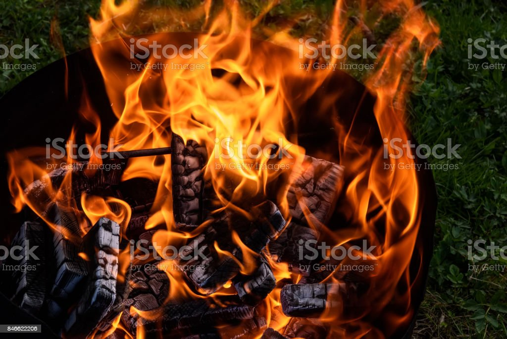 fire flame coal bonfire brazier stock photo
