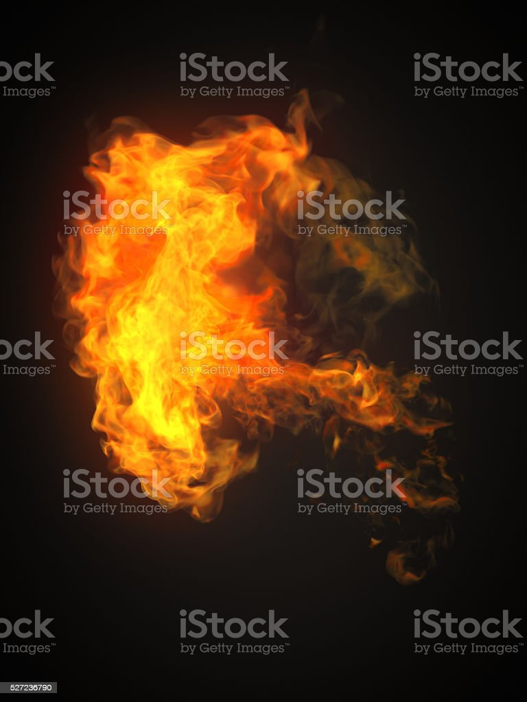 Fire flame isolated on dark background stock photo