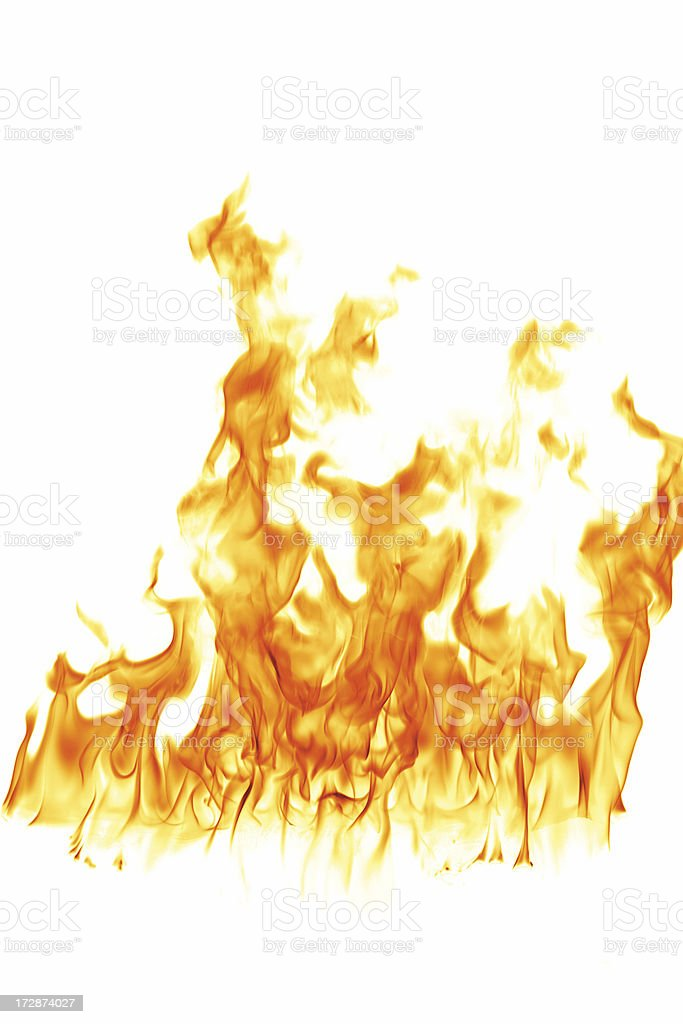 Fire Flames on white stock photo