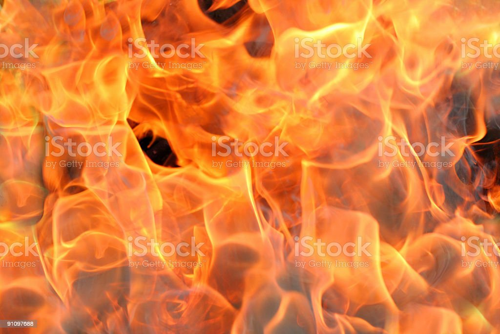 fire, flames and smoke stock photo