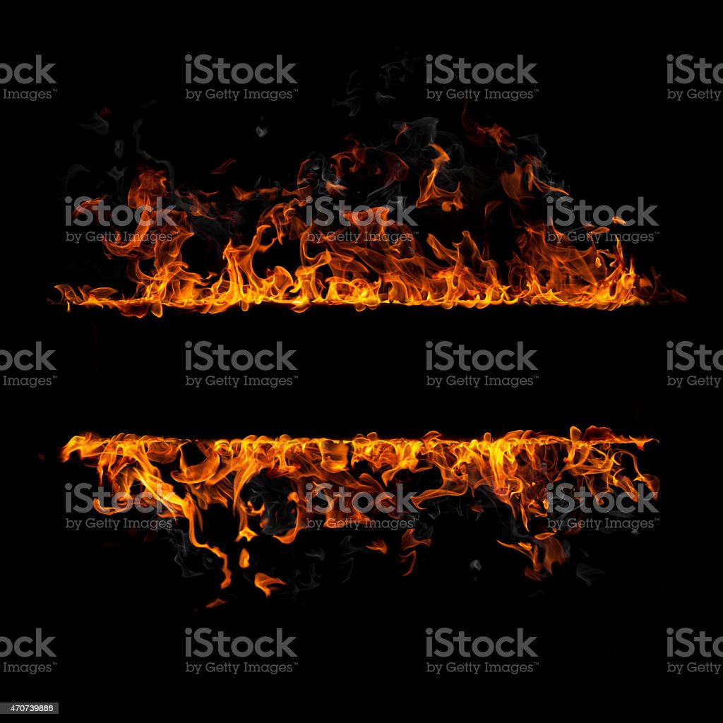 Fire flames border isolated on black background stock photo