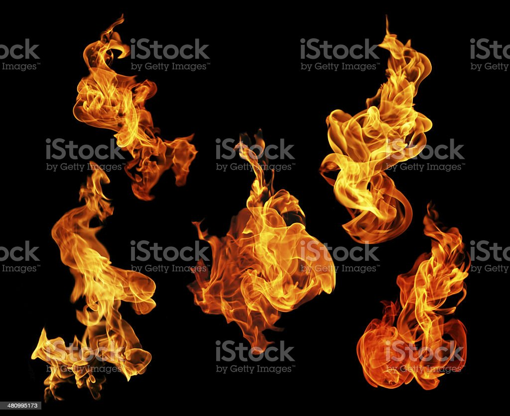 Fire flames collection isolated on black background stock photo