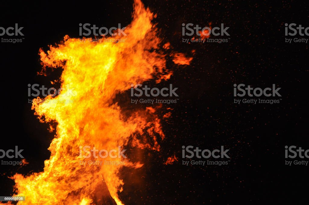 Fire flames on black background stock photo