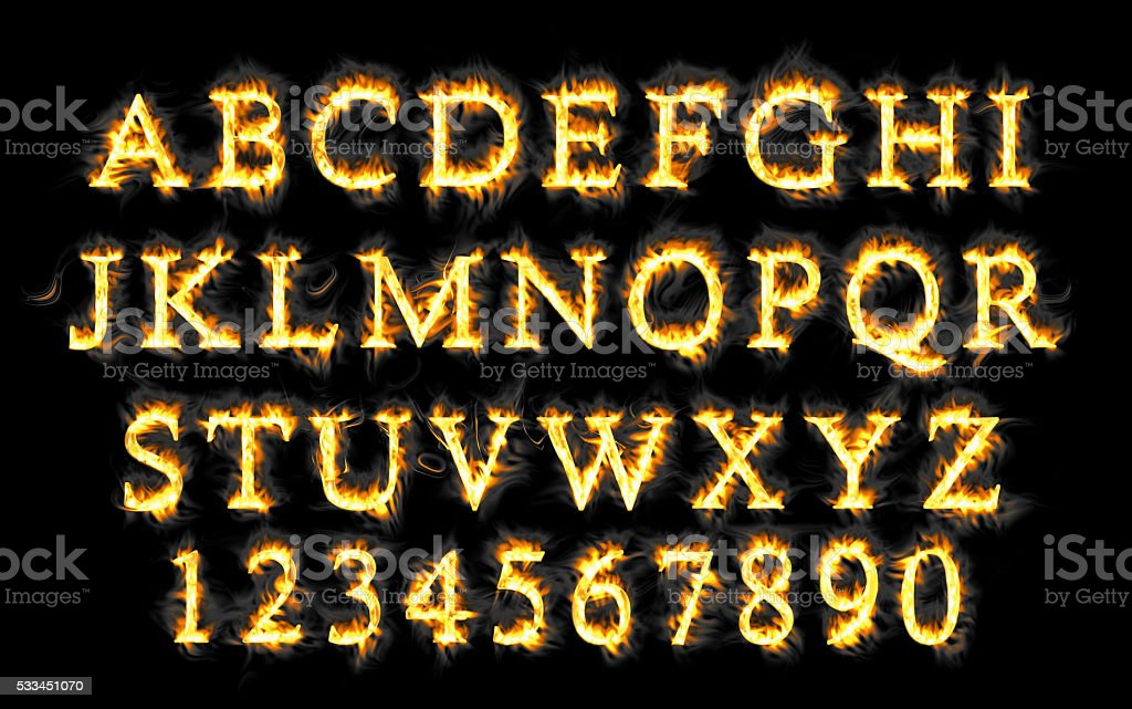 Fire font collection, alphabet of flame. stock photo