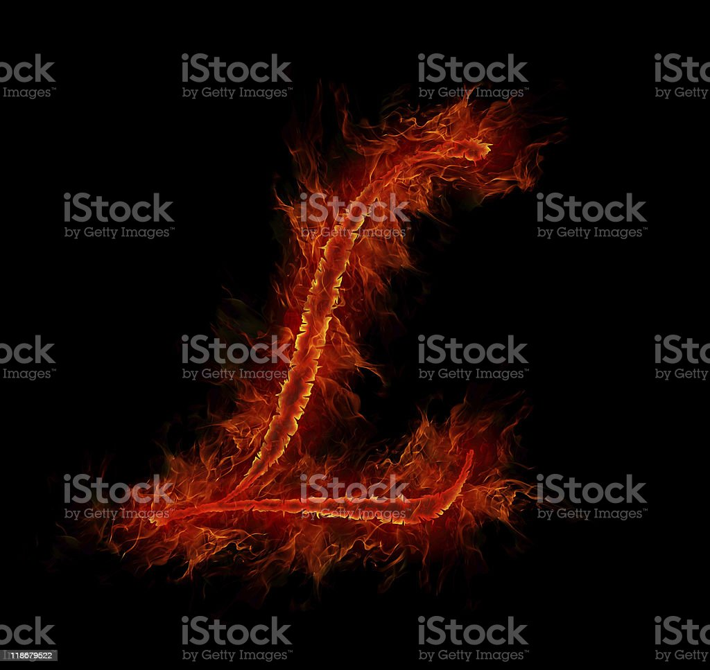 Fire font. Letter L from alphabet royalty-free stock vector art