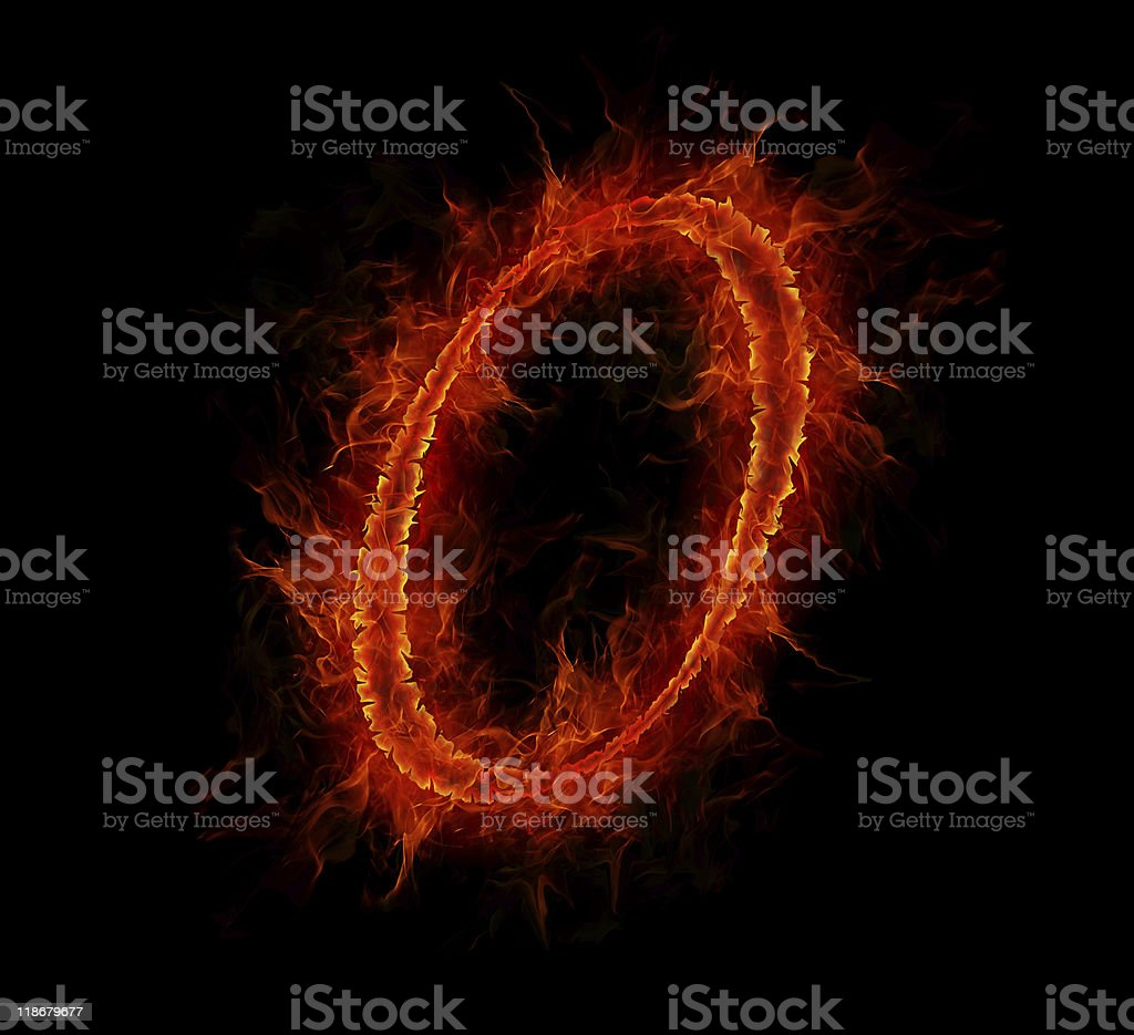 Fire font. Letter O from alphabet royalty-free stock photo