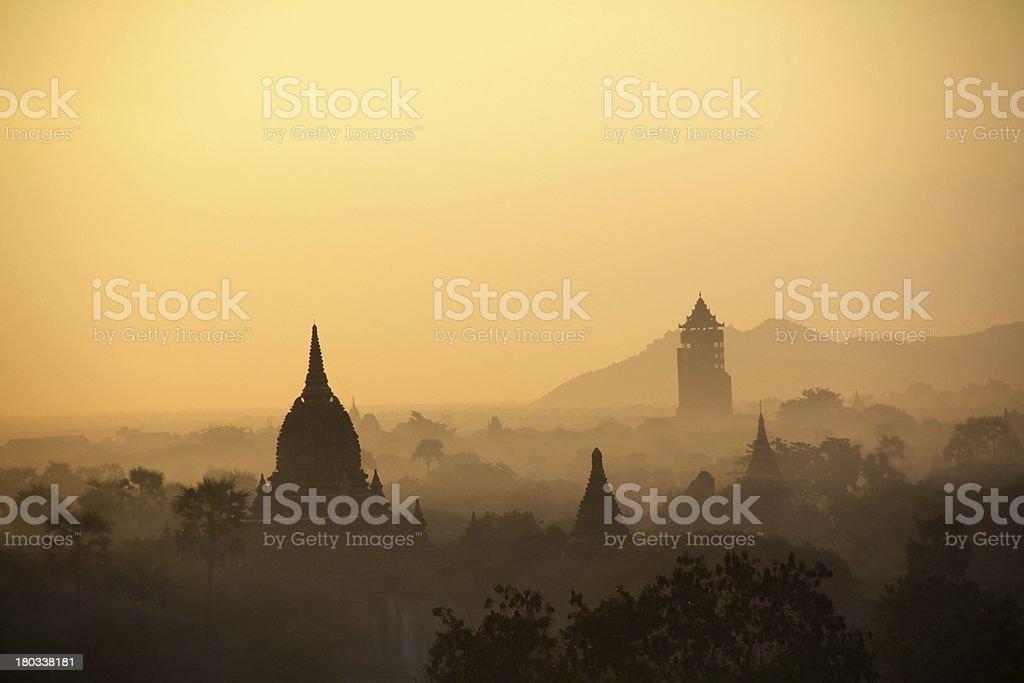 fire for balloon trip light up myanmar bagan pagoda royalty-free stock photo