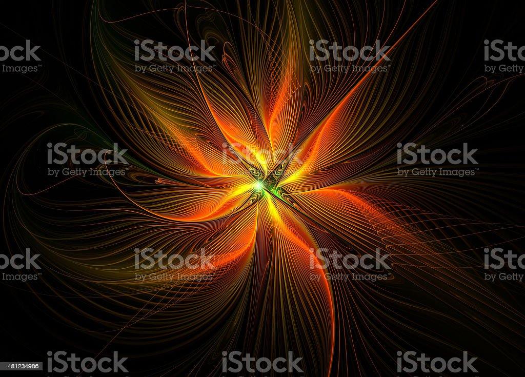 Fire fractal flower stock photo