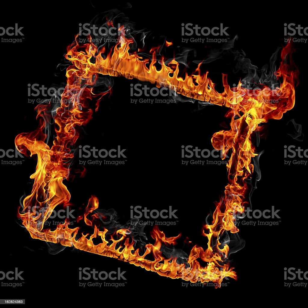 Fire frame isolated on black background royalty-free stock photo