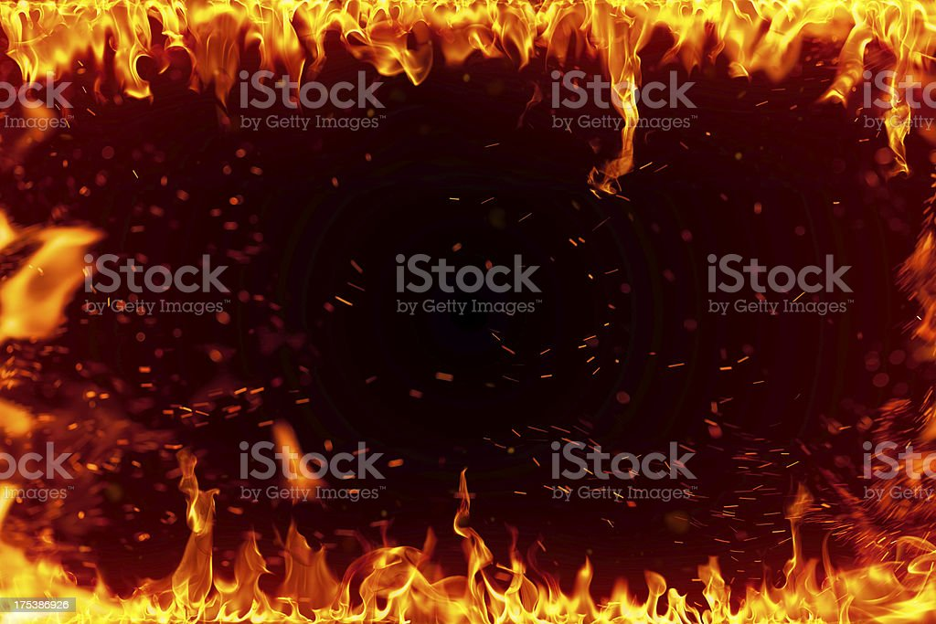 Fire frame isolated on black royalty-free stock photo