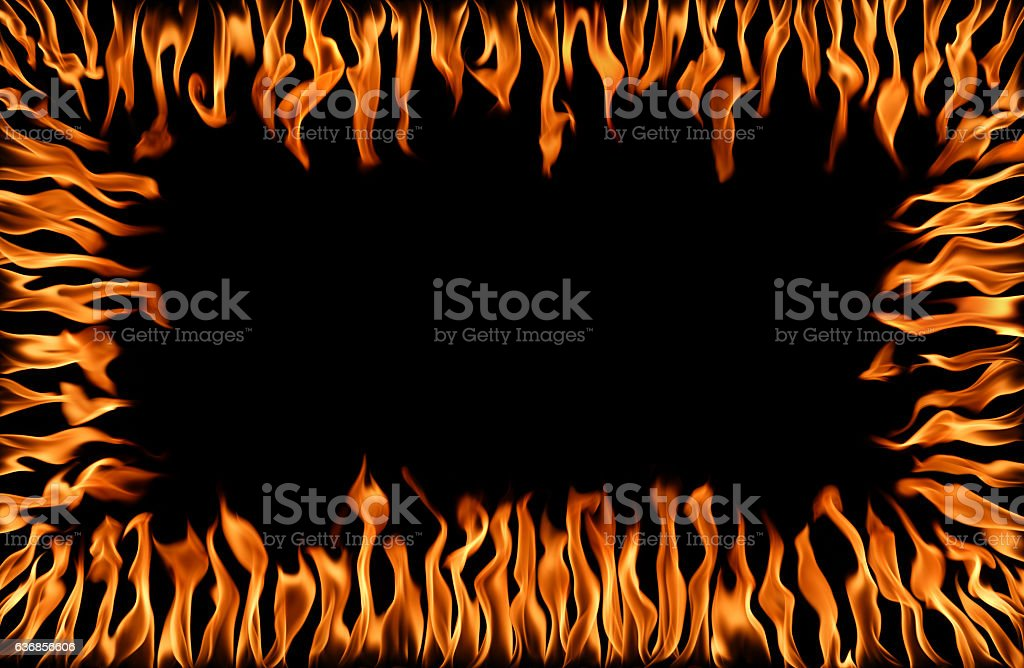 fire  frame on black stock photo