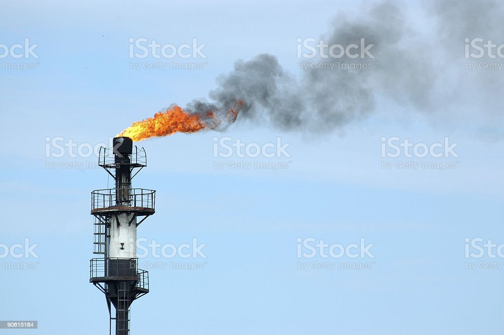 fire from pipe stock photo