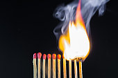 fire from the burning  matches in dark background