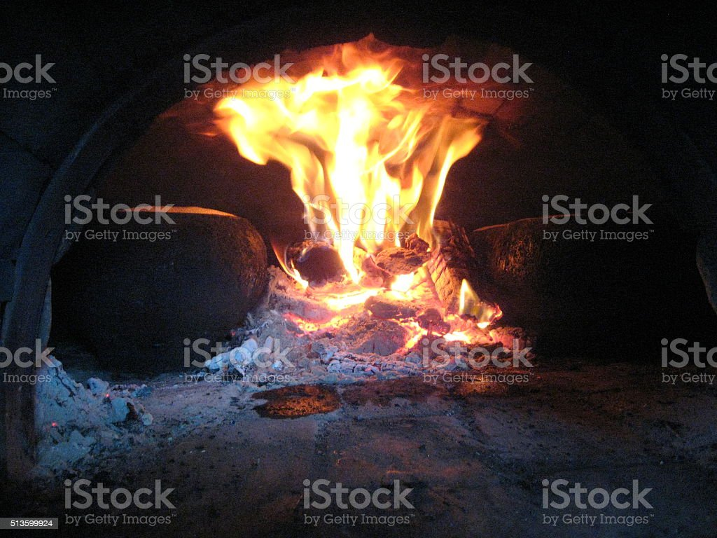 Fire from the rural furnace stock photo
