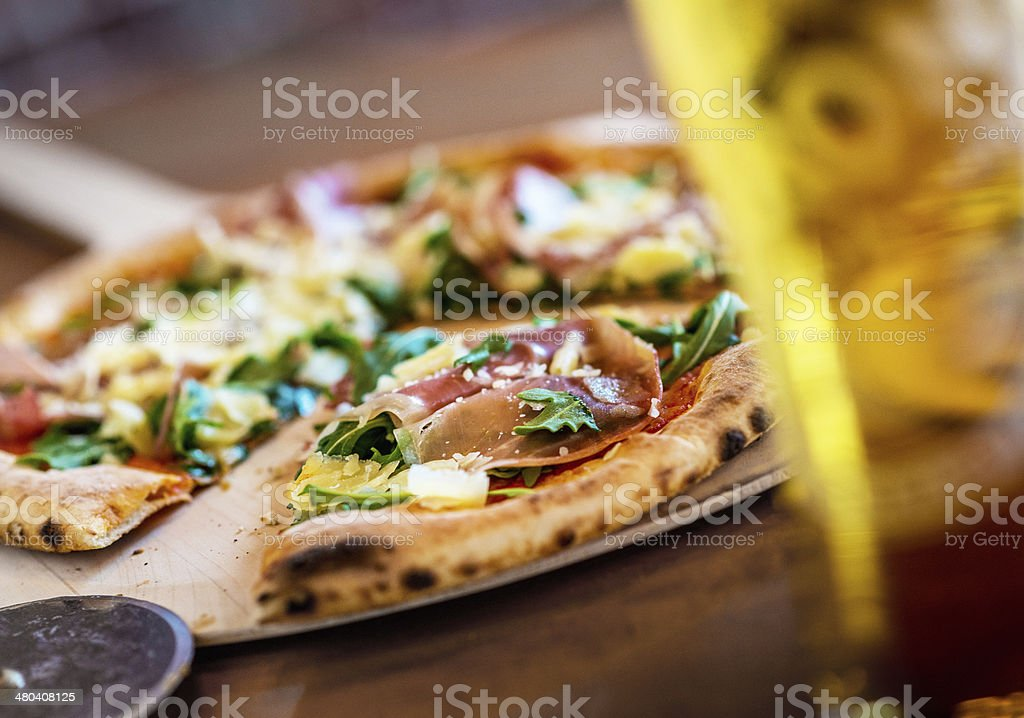 Fire Grilled Pizza and Beer stock photo