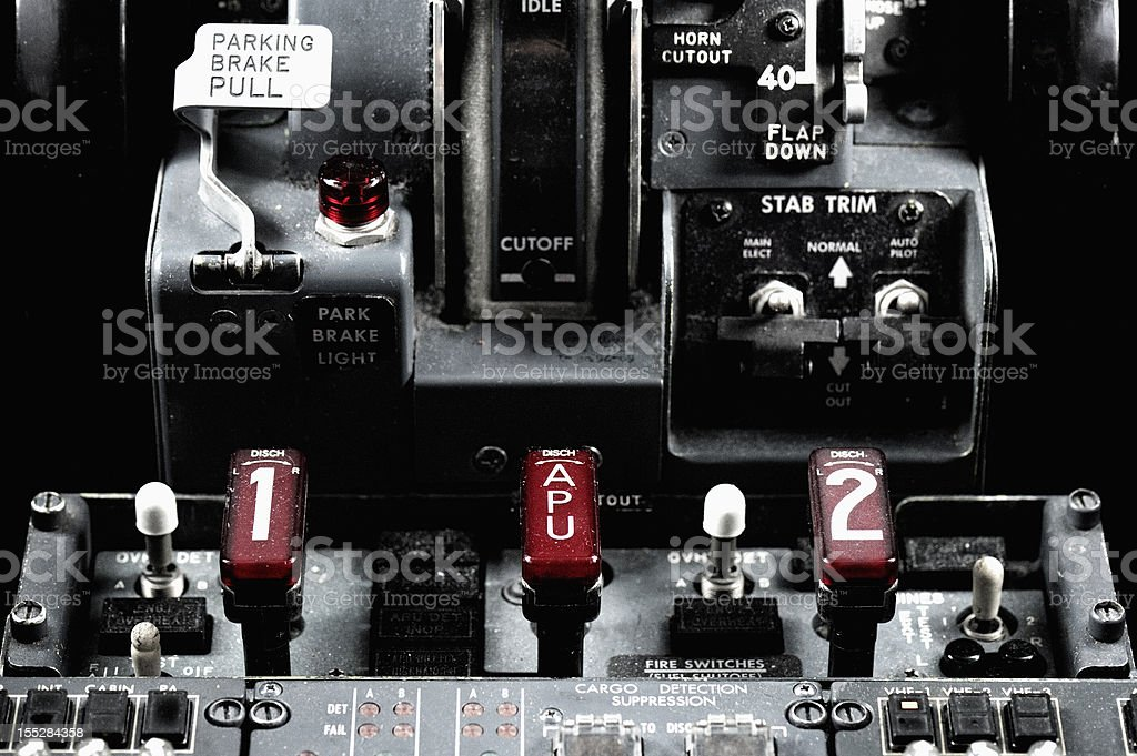 Fire Handles Boeing 737-300 stock photo