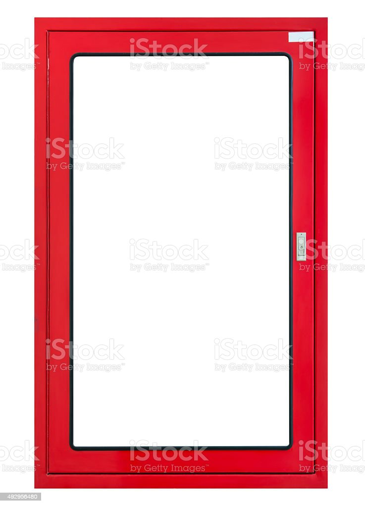 Fire hose cabinet frame isolated, on white background stock photo