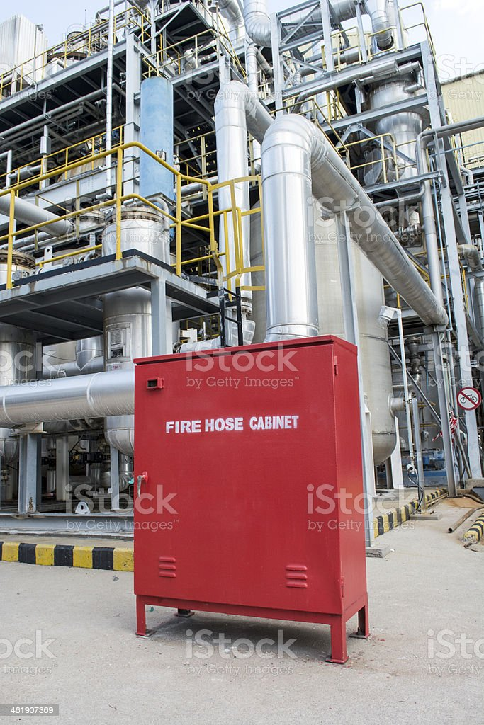 Fire hose cabinet in a factory plant stock photo