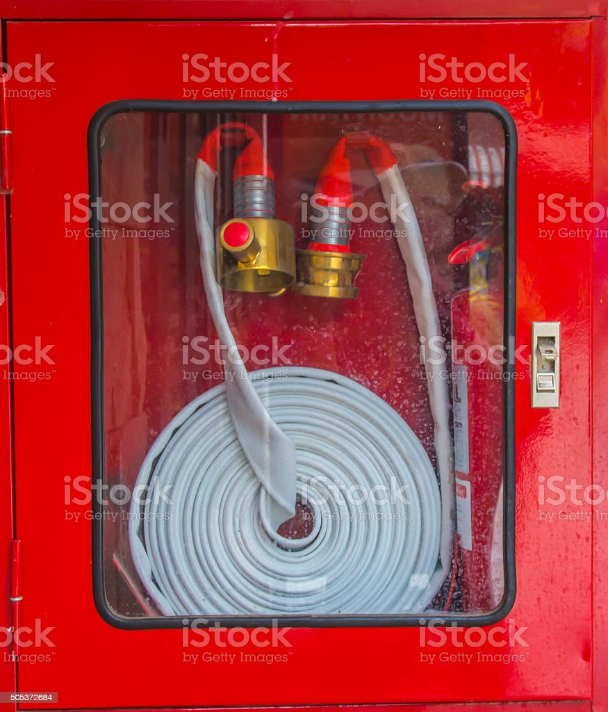 Fire Hose Cabinet stock photo