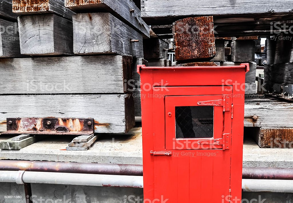 Fire Hose Cabinet with Cribbing stock photo