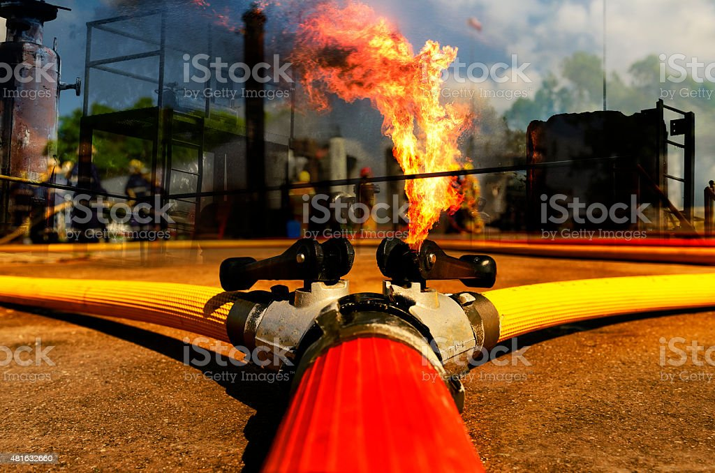 Fire hose connection ,fire fighting equipment for fire fighter. stock photo