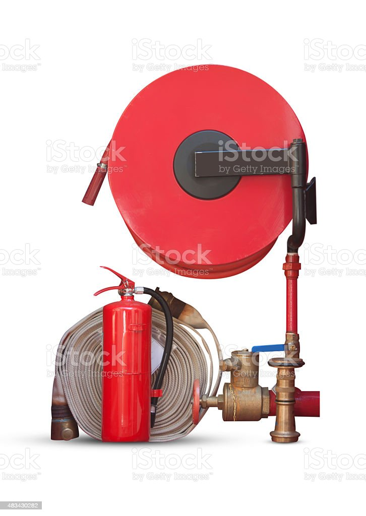 fire hose fire extinguisher stock photo