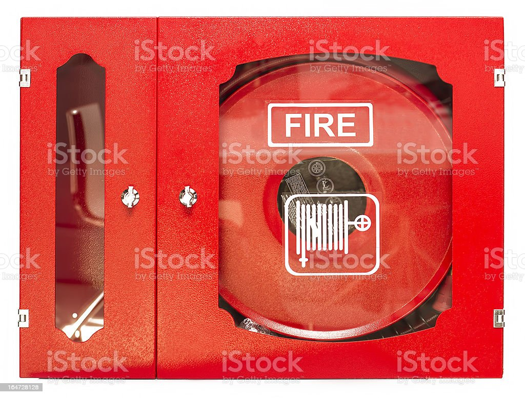 Fire Hose Isolated on White Background stock photo