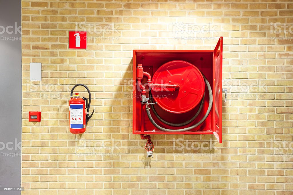 fire hose reel stock photo