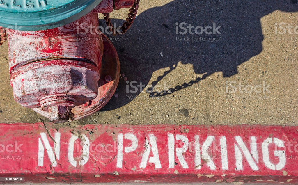 Fire hydrant at the sidewalk in Placerville stock photo