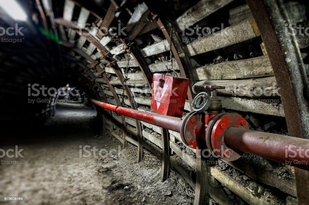 Fire hydrant in coal mine stock photo