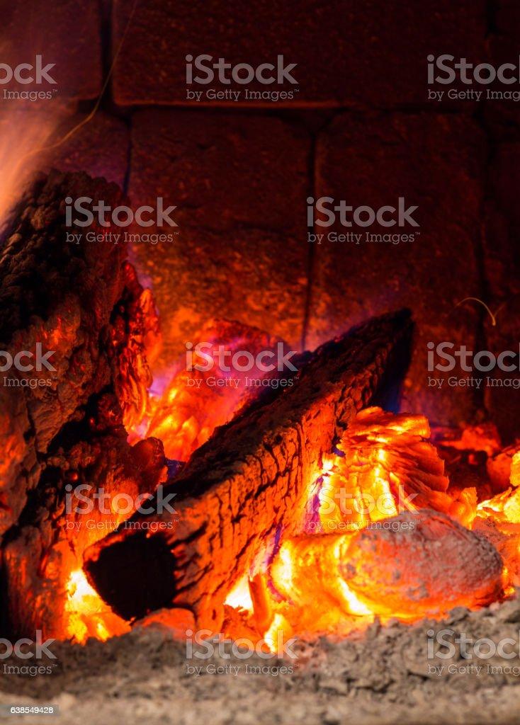 Fire in a open door hearth stock photo