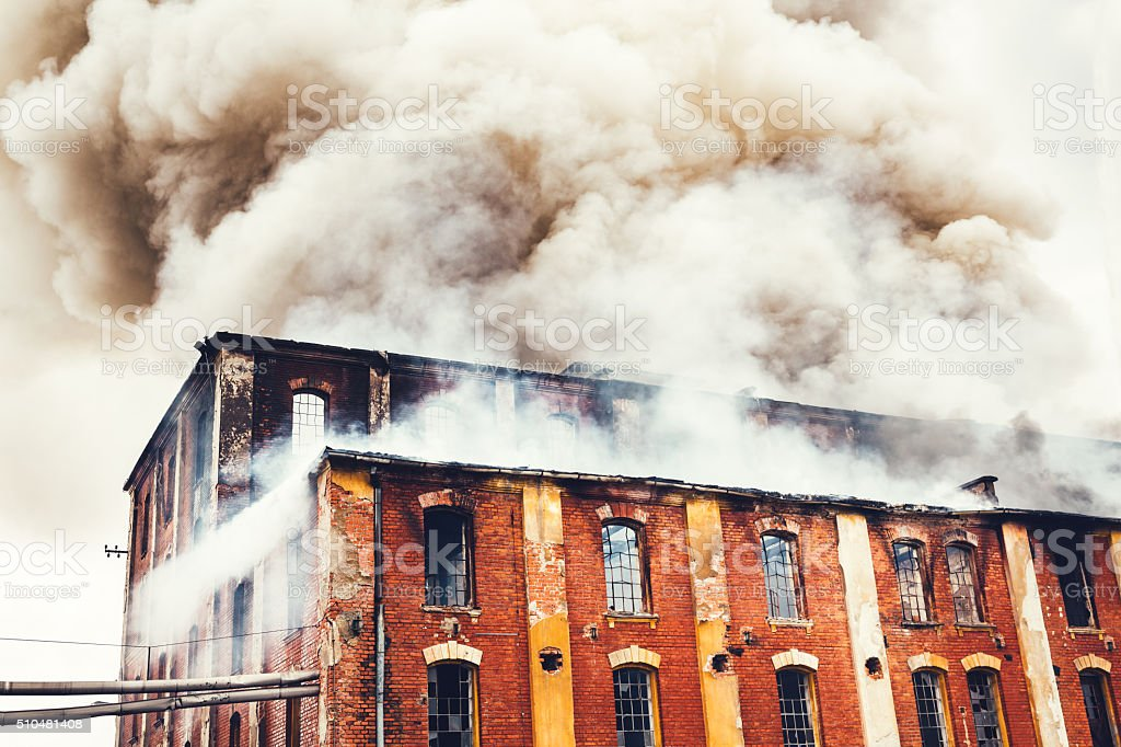 Fire In An Old Building stock photo