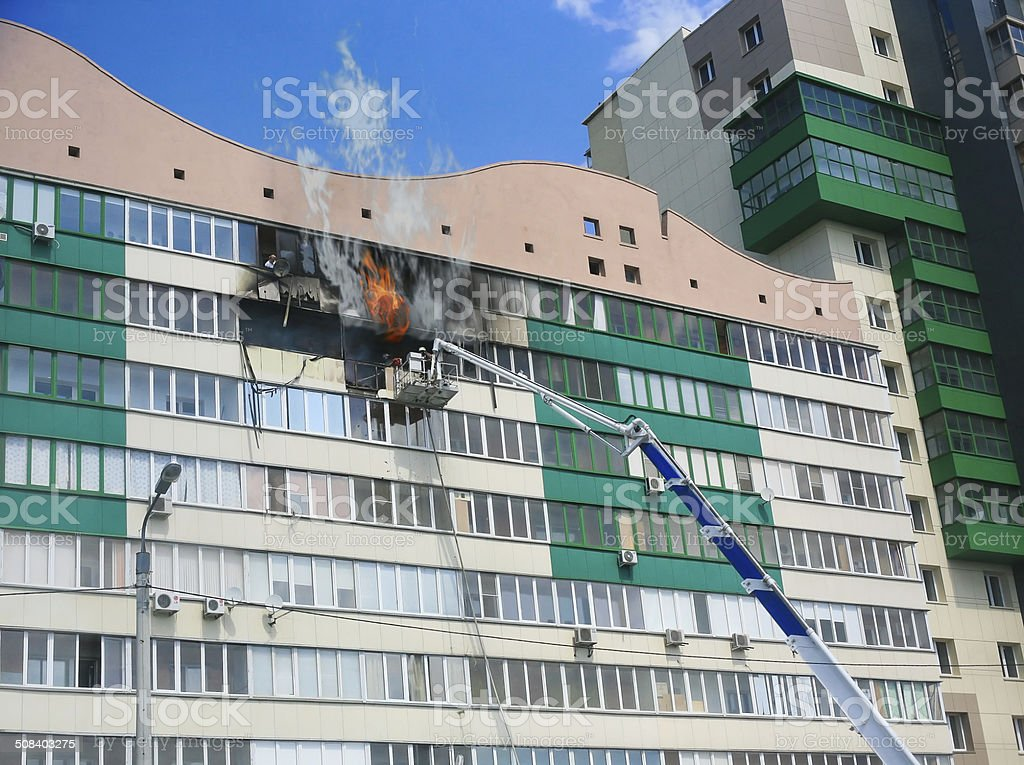 Fire in  apartment house stock photo