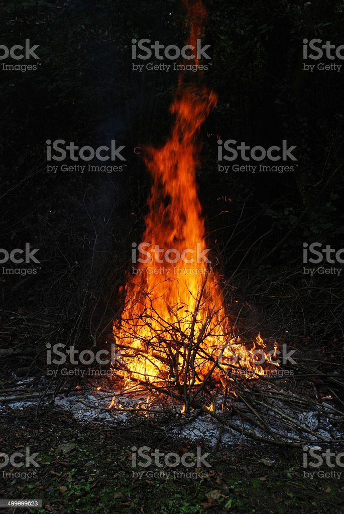Fire in black background stock photo