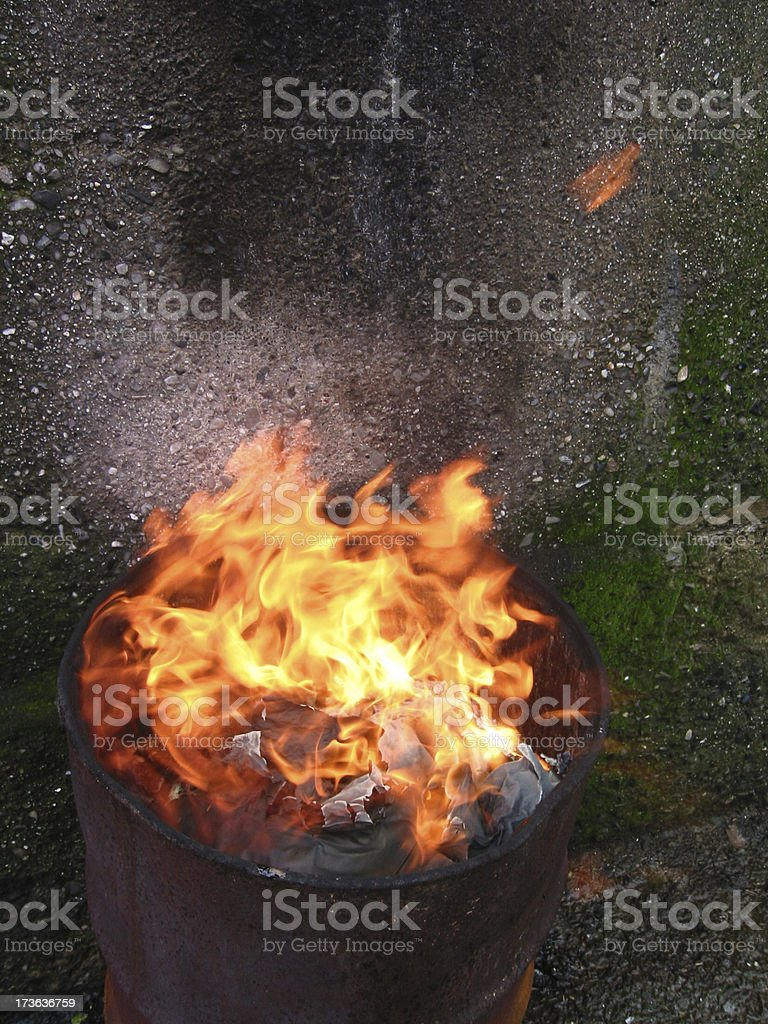 Fire in Can royalty-free stock photo