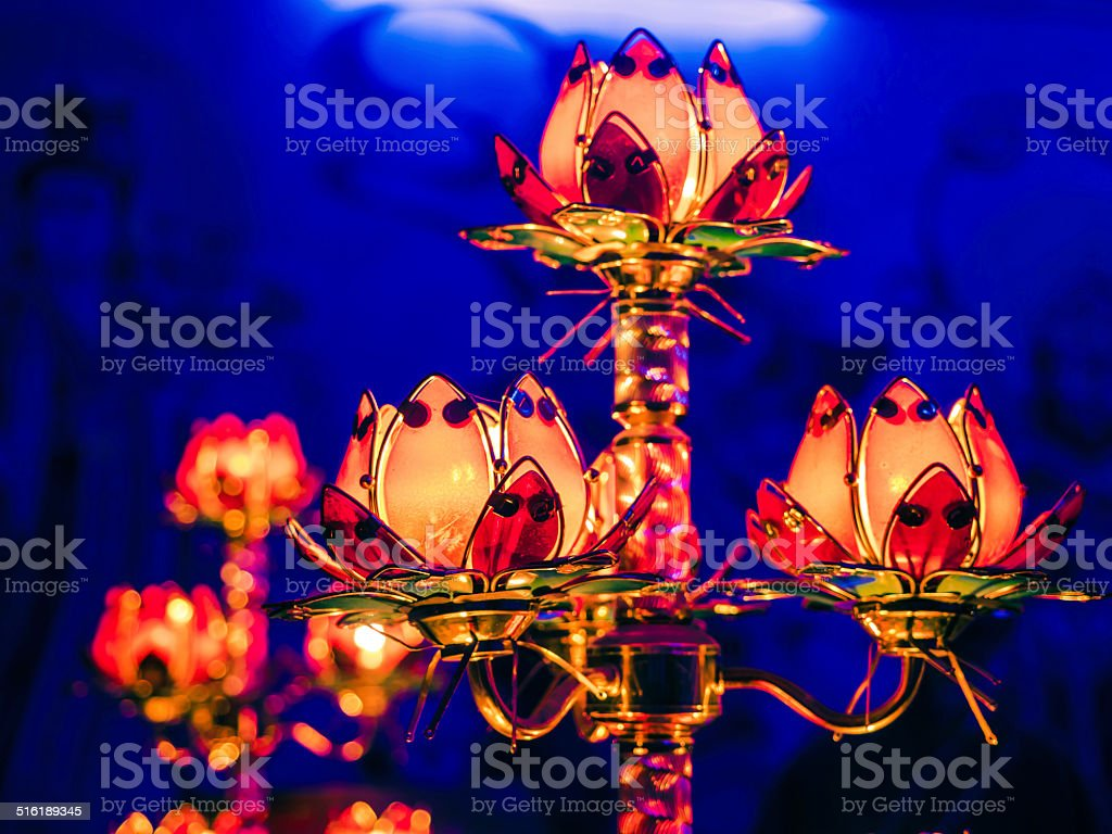 Fire In Candle With Lotus Flower Stock Photo 516189345 Istock