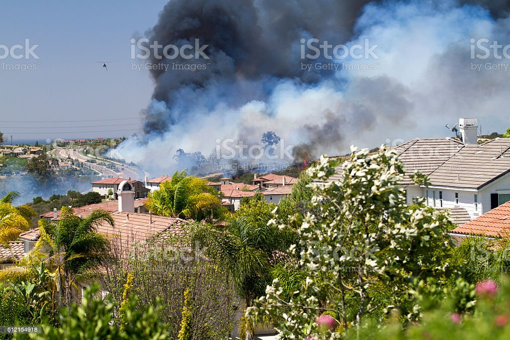 Fire in Carlsbad, California stock photo