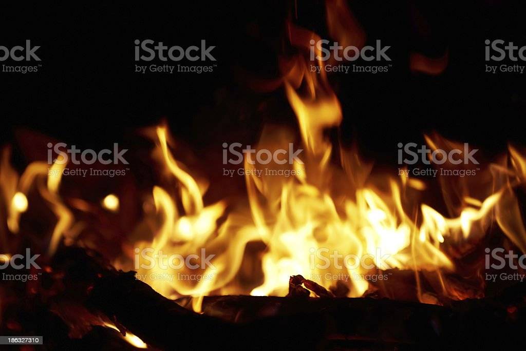 Fire in fireplace. royalty-free stock photo